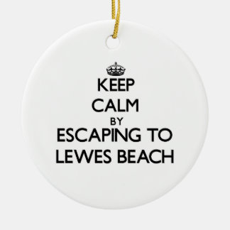 Keep calm by escaping to Lewes Beach Delaware Christmas Ornament