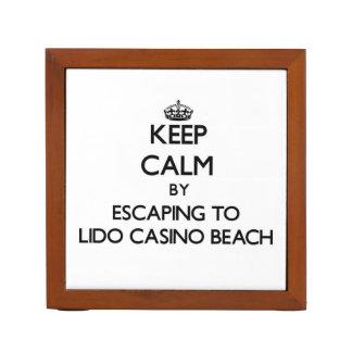 Keep calm by escaping to Lido Casino Beach Florida Pencil Holder