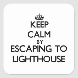 Keep calm by escaping to Lighthouse Massachusetts Square Sticker
