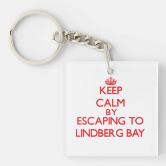 Keep calm by escaping to Lindberg Bay Virgin Islan Double-Sided Square Acrylic Key Ring