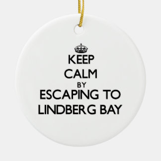 Keep calm by escaping to Lindberg Bay Virgin Islan Round Ceramic Decoration
