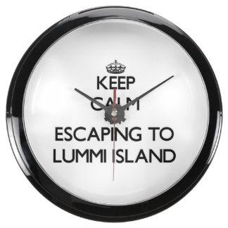 Keep calm by escaping to Lummi Island Washington Aqua Clock