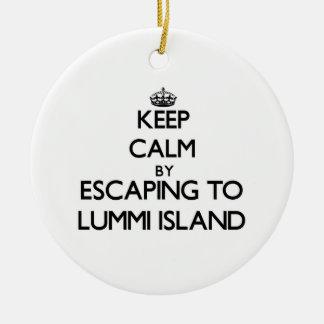 Keep calm by escaping to Lummi Island Washington Round Ceramic Decoration