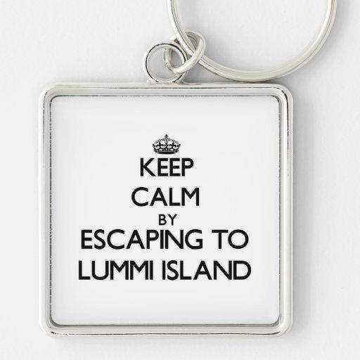 Keep calm by escaping to Lummi Island Washington Keychains