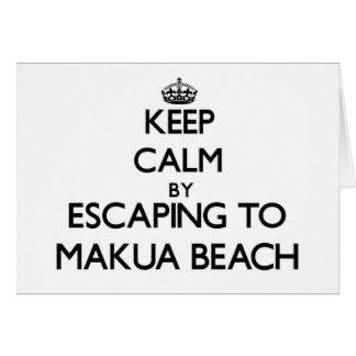 Keep calm by escaping to Makua Beach Hawaii Note Card