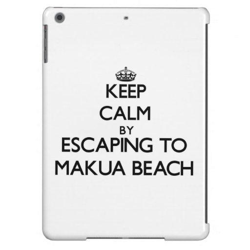 Keep calm by escaping to Makua Beach Hawaii Cover For iPad Air