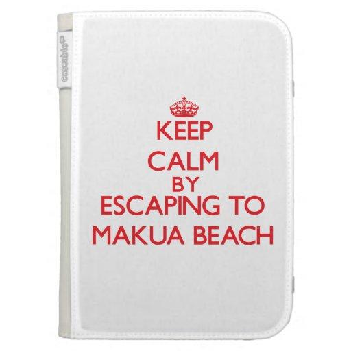 Keep calm by escaping to Makua Beach Hawaii Kindle Folio Cases