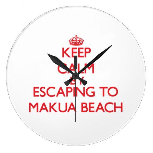 Keep calm by escaping to Makua Beach Hawaii Wall Clock
