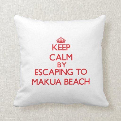 Keep calm by escaping to Makua Beach Hawaii Throw Pillows