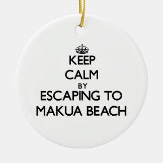 Keep calm by escaping to Makua Beach Hawaii Christmas Tree Ornaments