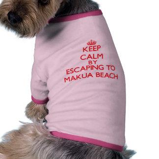 Keep calm by escaping to Makua Beach Hawaii Doggie Shirt