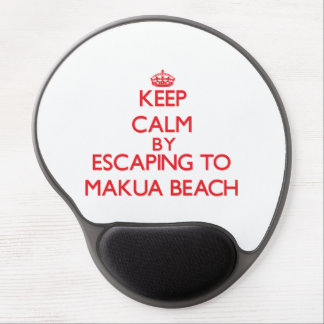 Keep calm by escaping to Makua Beach Hawaii Gel Mouse Mat