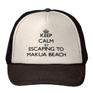 Keep calm by escaping to Makua Beach Hawaii Mesh Hats