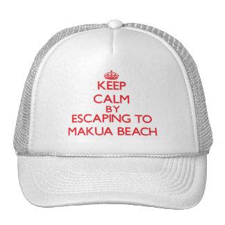 Keep calm by escaping to Makua Beach Hawaii Hats