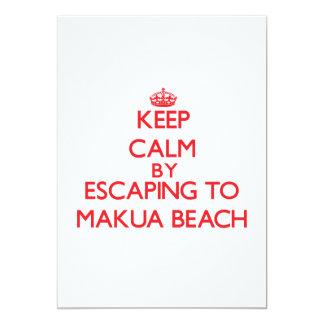 Keep calm by escaping to Makua Beach Hawaii 5x7 Paper Invitation Card