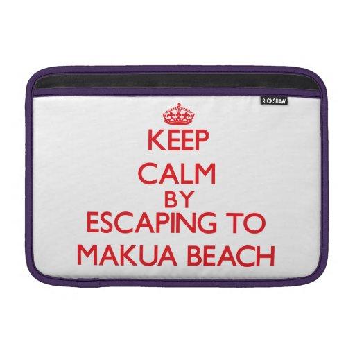 Keep calm by escaping to Makua Beach Hawaii Sleeve For MacBook Air