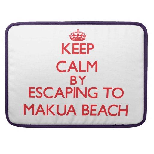 Keep calm by escaping to Makua Beach Hawaii Sleeves For MacBooks