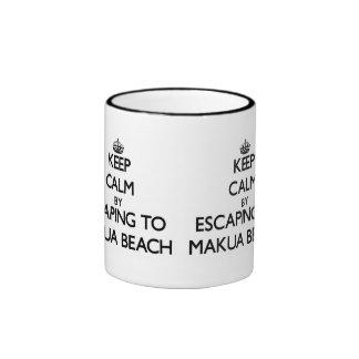 Keep calm by escaping to Makua Beach Hawaii Ringer Mug