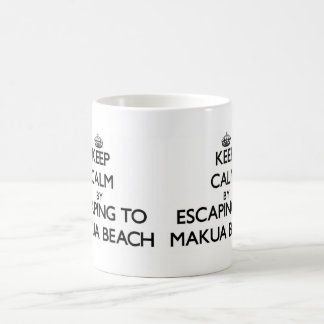 Keep calm by escaping to Makua Beach Hawaii Basic White Mug