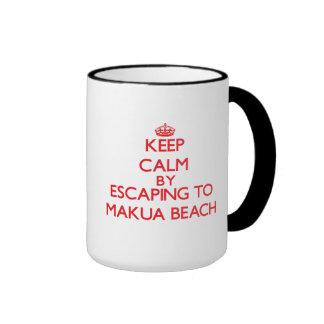 Keep calm by escaping to Makua Beach Hawaii Mugs