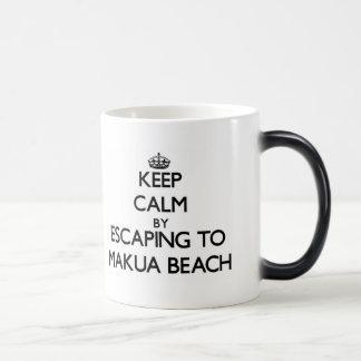 Keep calm by escaping to Makua Beach Hawaii Coffee Mug