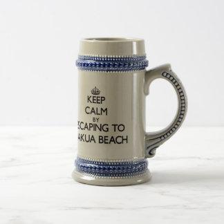 Keep calm by escaping to Makua Beach Hawaii Coffee Mugs