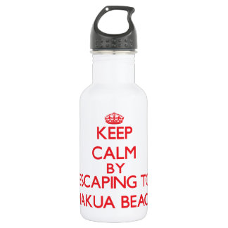 Keep calm by escaping to Makua Beach Hawaii 532 Ml Water Bottle