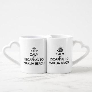 Keep calm by escaping to Makua Beach Hawaii Couples Mug