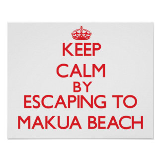 Keep calm by escaping to Makua Beach Hawaii Poster