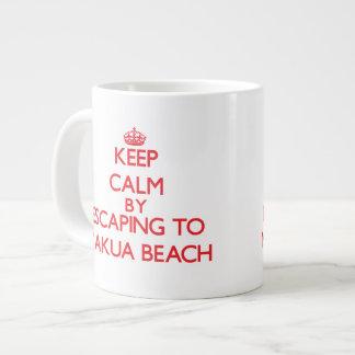 Keep calm by escaping to Makua Beach Hawaii Jumbo Mugs