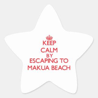 Keep calm by escaping to Makua Beach Hawaii Star Sticker