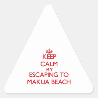 Keep calm by escaping to Makua Beach Hawaii Triangle Sticker
