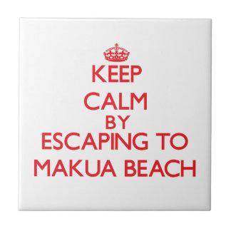 Keep calm by escaping to Makua Beach Hawaii Tile