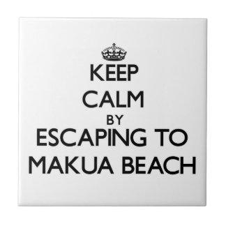 Keep calm by escaping to Makua Beach Hawaii Ceramic Tile