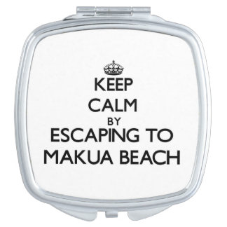 Keep calm by escaping to Makua Beach Hawaii Vanity Mirrors