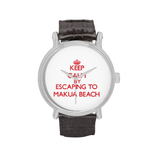 Keep calm by escaping to Makua Beach Hawaii Wristwatch