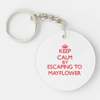 Keep calm by escaping to Mayflower Massachusetts Double-Sided Round Acrylic Key Ring