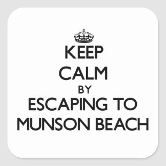 Keep calm by escaping to Munson Beach Illinois Square Sticker