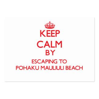 Keep calm by escaping to Pohaku Mauliuli Beach Haw Business Cards