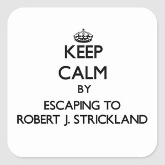 Keep calm by escaping to Robert J. Strickland Flor Square Sticker