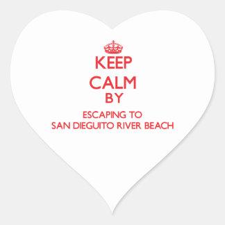 Keep calm by escaping to San Dieguito River Beach Heart Sticker
