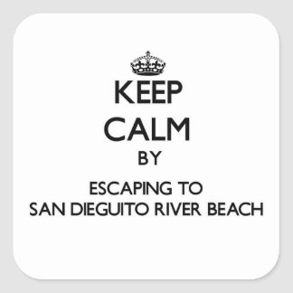 Keep calm by escaping to San Dieguito River Beach Square Sticker