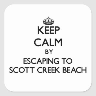 Keep calm by escaping to Scott Creek Beach Califor Square Stickers