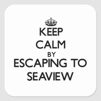 Keep calm by escaping to Seaview Massachusetts Square Stickers