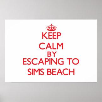 Keep calm by escaping to Sims Beach Ohio Print