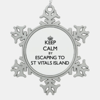 Keep calm by escaping to St Vitals Island Michigan Ornament