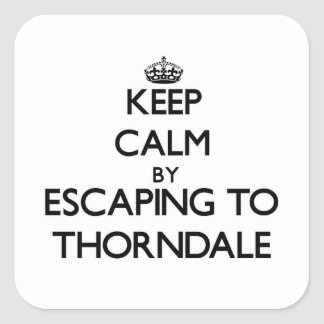 Keep calm by escaping to Thorndale Illinois Square Stickers