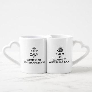 Keep calm by escaping to White Plains Beach Hawaii Lovers Mug Sets