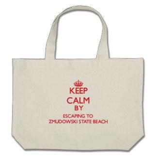 Keep calm by escaping to Zmudowski State Beach Cal Canvas Bags