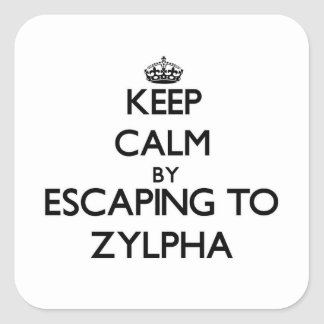 Keep calm by escaping to Zylpha Massachusetts Square Stickers